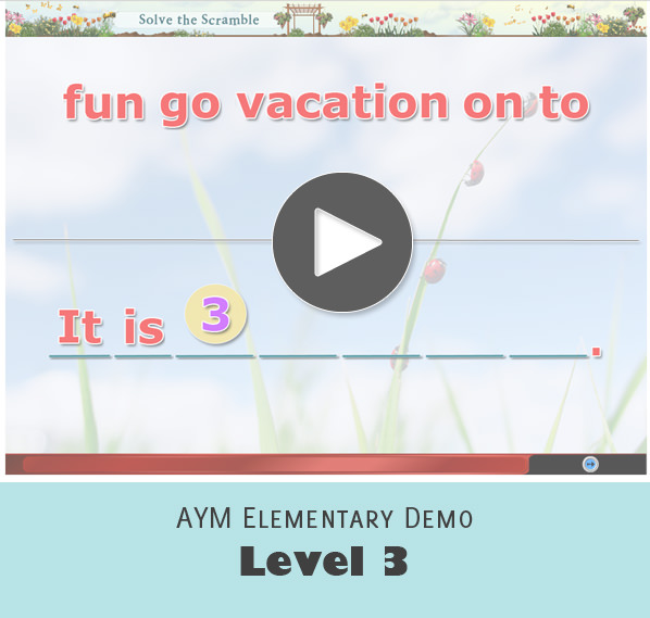 AYM Elementary Program Activity Sample Screenshot - Level 3