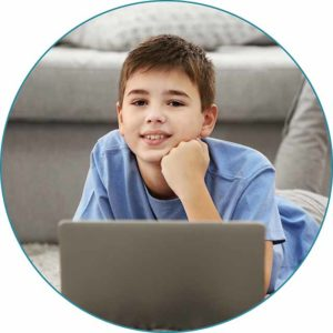 Photo of elementary Student with computer