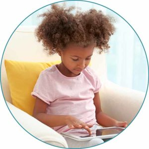 Photo of little girl with tablet